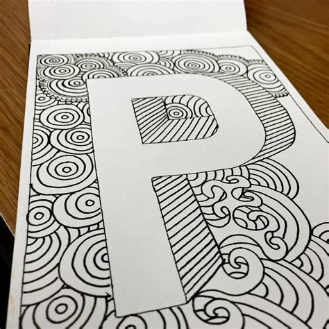 doodle letter draw doodle and decorate block letters p v q f