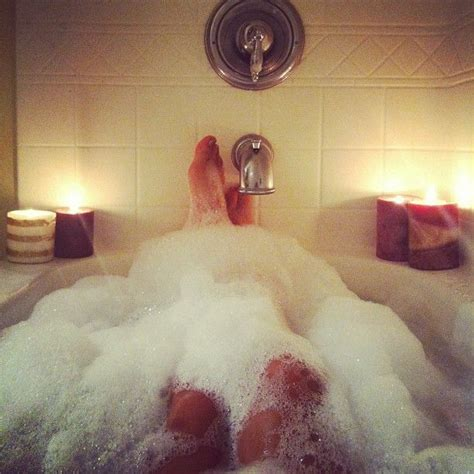 selfies in bathtub bubbles