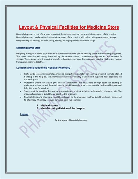 list of sections affected layout for medicine store