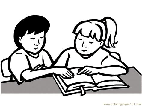 Coloring Pages Children Read Book Education School