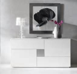 buffet bahut blanc laqu 2 portes 2 tiroirs design carl
