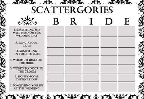 bridal shower game scattergories simran s space