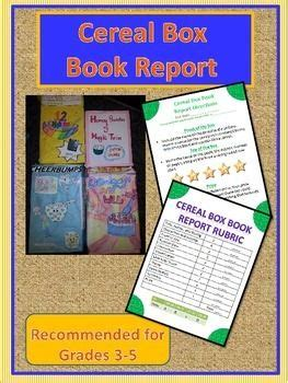 cereal book report book report cereal box book report book report projects
