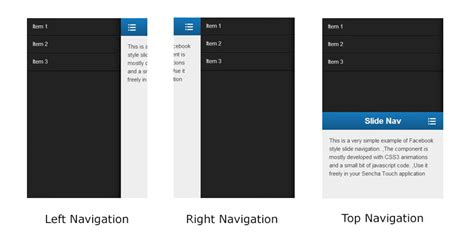 layout menu extjs slide navigation with sencha touch innofied