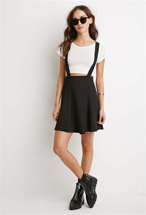 lyst forever 21 flared overall skirt in black
