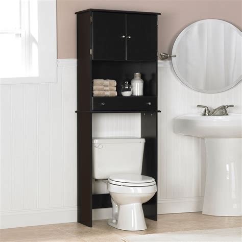 bathroom cabinet above toilet black wooden bathroom cabinet with shelf and drawer above