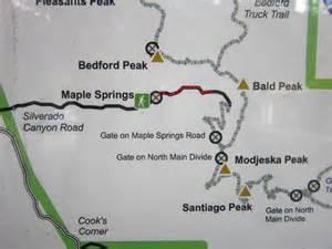 silverado california map silverado maple springs rd