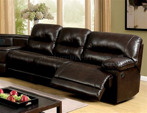 glasgow sofas glasgow reclining sectional sofa cm6822br in brown leatherette