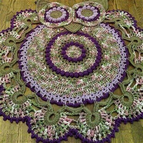 purple owl rug crocheted owl rug owl rug purple rug from kreativejourney on