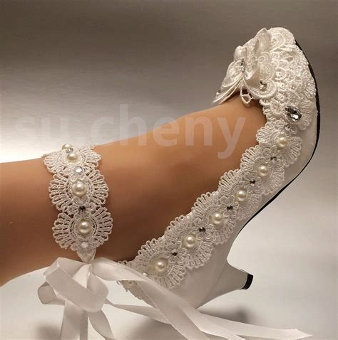 Wedding Shoes With Pearls by White Ivory Low High Heel Lace Bow Pearl Wedding