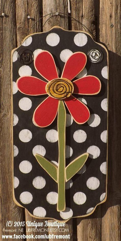 daisy red flower wood door hanger black white polka dots