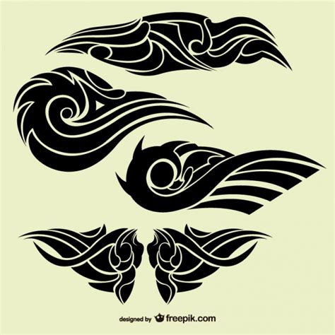 set of tribal abstract tattoos vector free download tribal abstract tattoos collection vector free download