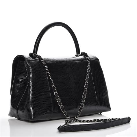 coco handle medium size chanel lizard medium coco handle flap black 228760