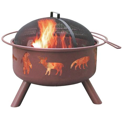 Landmann Firepit Landmann 24 In Big Sky Wildlife Pit In Clay With Cooking Grate 28337 The Home Depot