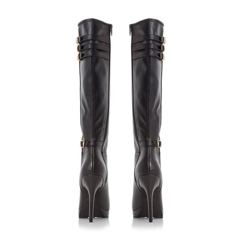 black high heel knee high boots dune snitchee high heel knee high boots in black black