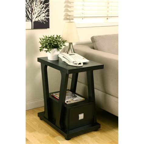 black end table with drawer furniture of america naudine 1 drawer black end table