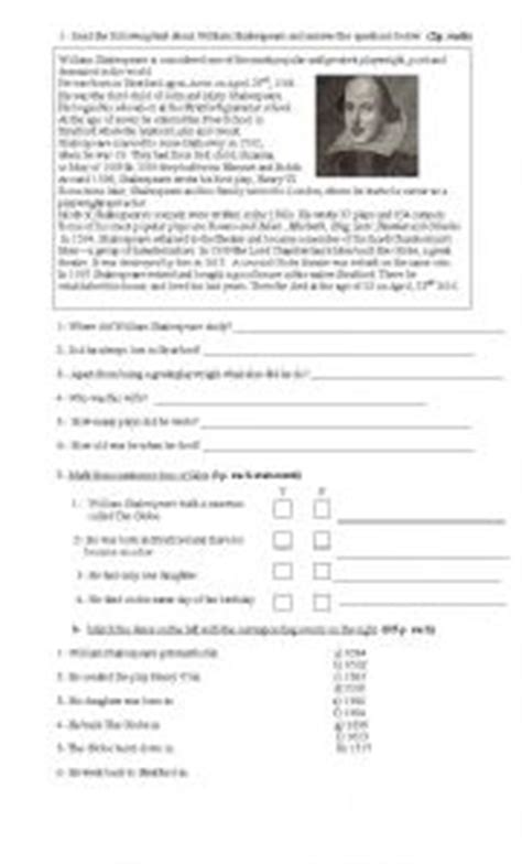 reading comprehension will smith biography worksheet william shakespeare biography worksheet