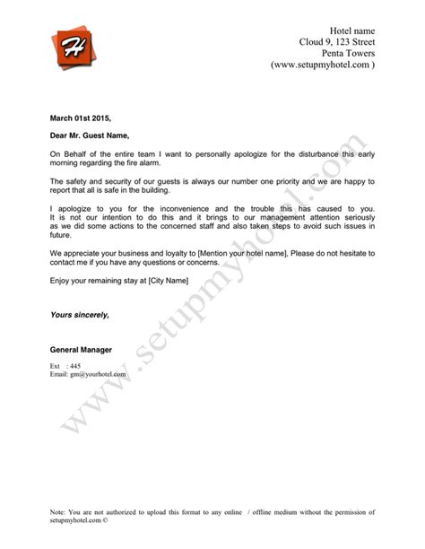 Apology Letter Sle To Hotel Guest Hotel Apology Letter False Alarml In Word And Pdf Formats