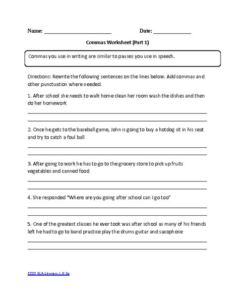 Commas Worksheet by 28 Punctuation Worksheets