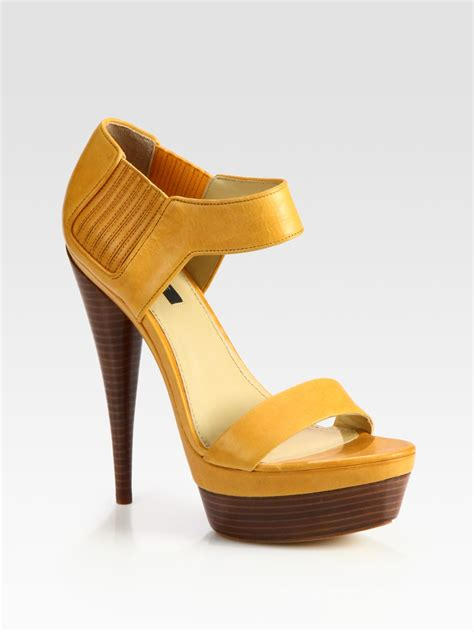 lyst zoe beverly leather platform sandals in yellow