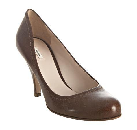 10 Coolest Miu Miu Shoes by Lyst Miu Miu Cocoa Leather Wide Base Heel Pumps In Brown