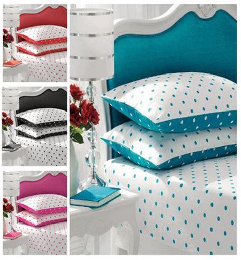 polka dot bed linen polkadot fitted sheet 2 pillow set bedding