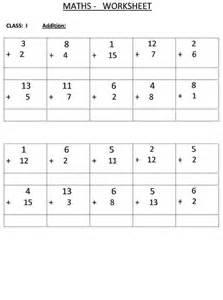 addition class 1 maths worksheet