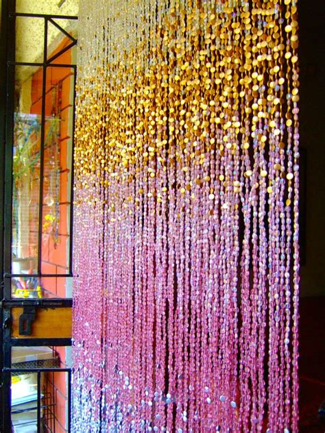 glass bead curtains antique ombre pink silver gold beaded curtain ready