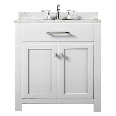 White Marble Vanity Top by Water Creation 30 In Vanity In Modern White With
