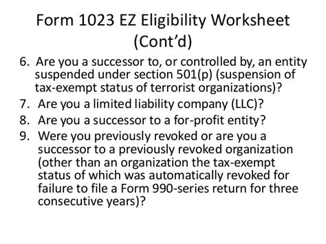 Changes to Federal Tax Exemption Process (jo) 1023 Ez Status