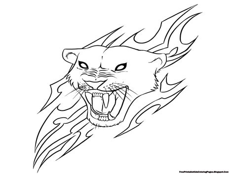 jaguar head with flare coloring pages printable free