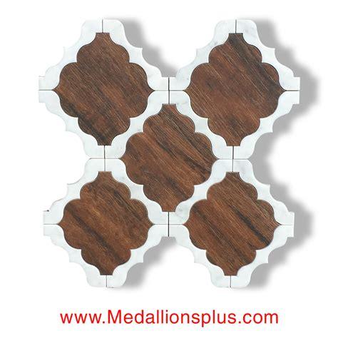 Dark Wood And Carrara Waterjet Cut Tile   Design 47