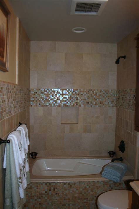 wondrous small bathroom designs with shower and tub using glass mosaic accent wall including