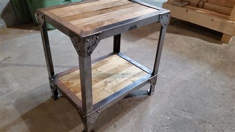 A Wood And Metal Side Table End Tables