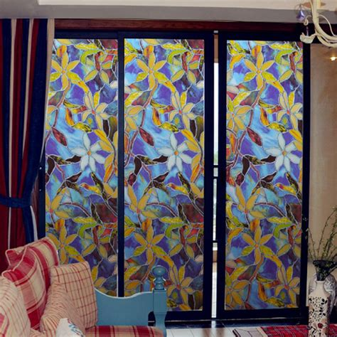 stained glass home decor ls4g 45x100cm magnolia privacy window film decorative