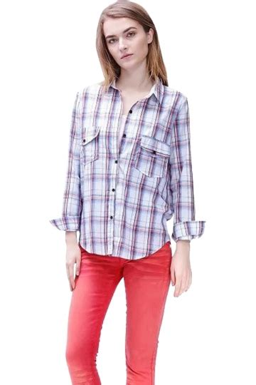 Blouse Katun Import 11 womens plaid turndown collar pockets sleeve blouse gray pink