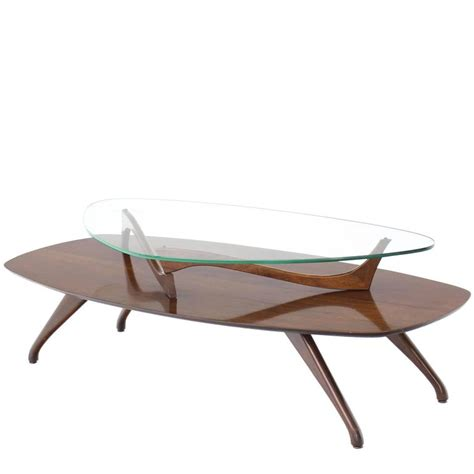 Walnut And Glass Two Tier Oval Coffee Table For Sale At Walnut Oval Coffee Table