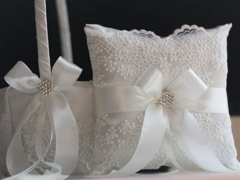 Wedding Pillow Sets by Lace Ring Bearer Pillow Basket Set Lace Flower Basket