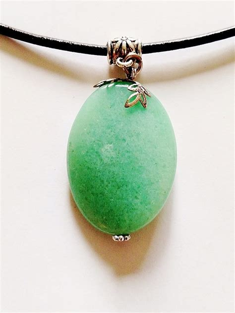mineral green jade genuine bent oval pendant necklace