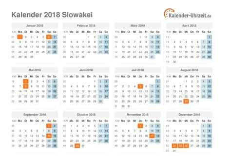 Slovakia Kalender 2018 Feiertage 2018 Slowakei Kalender 220 Bersicht