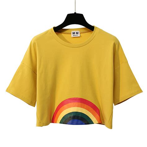 Pusat Grosir Baju Pretty Top merry pretty summer new fashion harajuku t shirt kawaii rainbow print crop tops tees