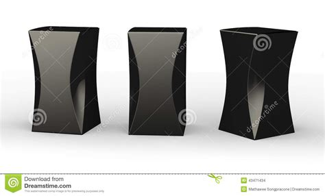 Package Black glossy black box package with curve clipping path