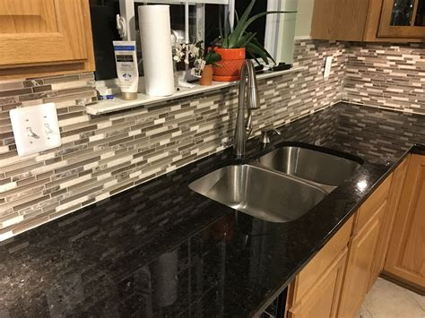 anatolia tile java linear mosaic and glass wall tile black pearl granite with anatolia tile java linear mosaic
