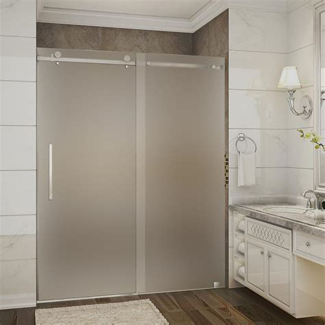 Frosted Shower Glass Doors Aston Moselle 56 In To 60 In X 75 In Completely Frameless Sliding Shower Door With Frosted