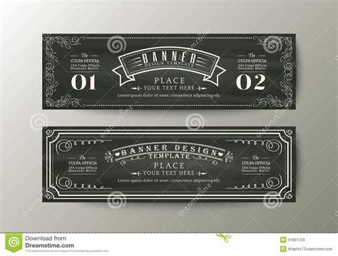 classic design banner banner design template with vintage floral frame on chalk