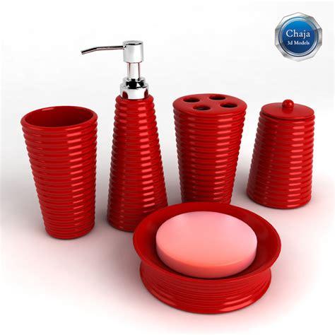 red bathroom set 3d model bathroom accessories bath
