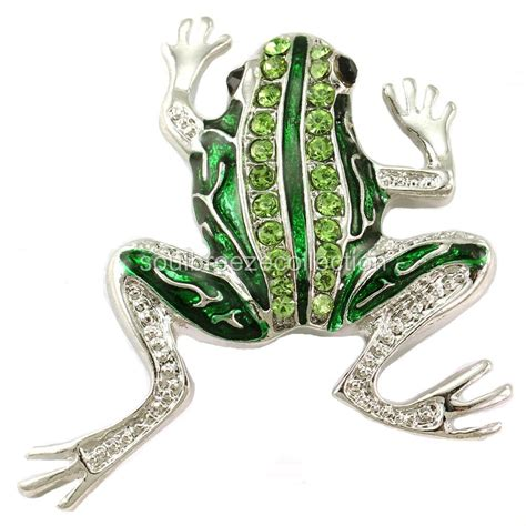 green frog toad pin brooch light green silver tone
