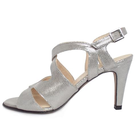 strappy silver sandals kaiser padora s evening high heel strappy