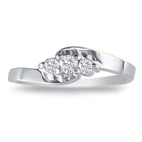 1 10ct three promise ring in sterling silver
