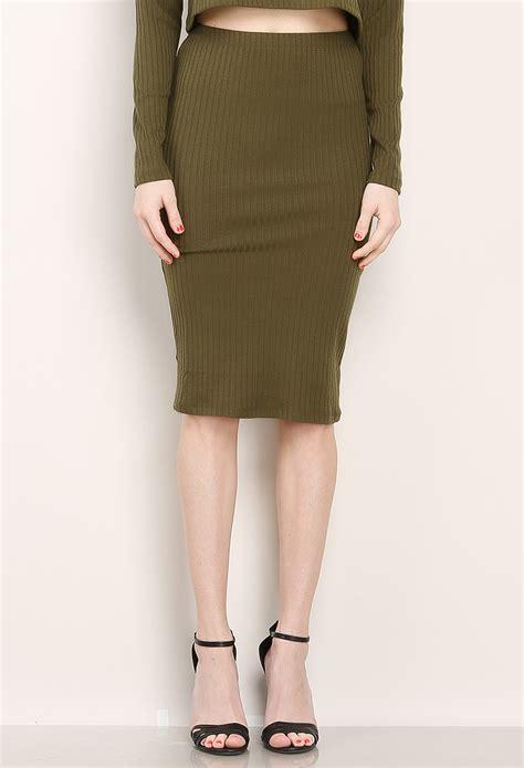 ribbed knit midi skirt shop skirts at papaya clothing